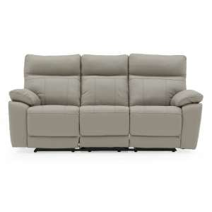 Marquess Recliner 3 Seater Sofa In Light Grey Faux Leather