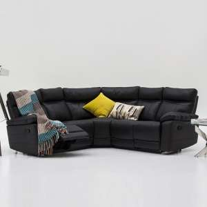 Marquess Recliner Corner Sofa In Black Faux Leather