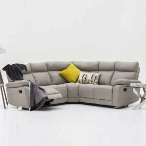 Marquess Recliner Corner Sofa In Light Grey Faux Leather