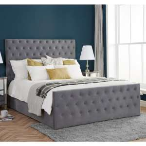 Marquis Ottoman Fabric King Size Bed In Grey Velvet