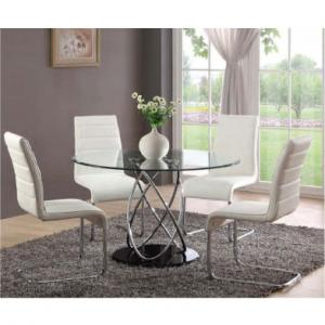 Marseille Glass Dining Table With 4 Toulouse Dining Chairs