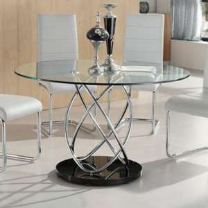 Marseille Glass Dining Table In Clear With Chrome Supports