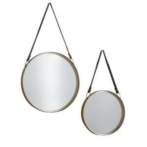 Marston Mirrors With Leather Hanging Strap Gold In Pair
