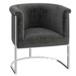 Martina Velvet Fabric Lounge Chair In Dark Grey