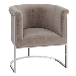 Martina Velvet Fabric Lounge Chair In Mink