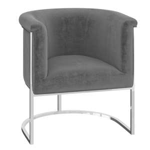 Martina Velvet Fabric Lounge Chair In Silver Grey
