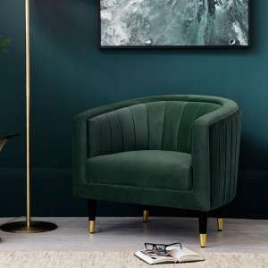 Martino Modern Fabric Armchair In Mallard Velvet