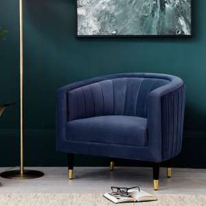 Martino Modern Fabric Armchair In Twilight Velvet
