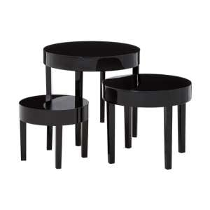Martos Wooden High Gloss Nest Of 3 Tables In Black