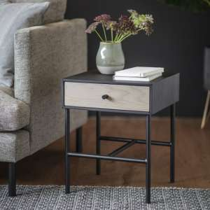 Marvale One Drawer Bedside Cabinet With Black Metal Frame