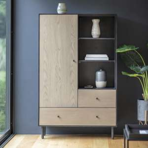 Marvale Wooden Display Cabinet In Dark Lacquer Finish