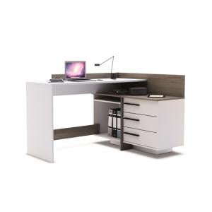 Marvin Corner Computer Desk In Dark Oak And Pearl White