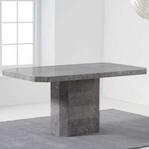 Massa Marble Dining Table In Grey High Gloss