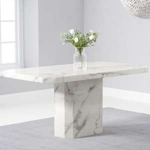 Massa Marble Dining Table In White High Gloss