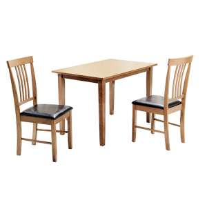 Massa Small Dining Set In Oak With 2 Chairs