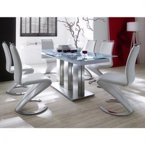 Massimo Extendable White Glass Table With 6 White Chairs