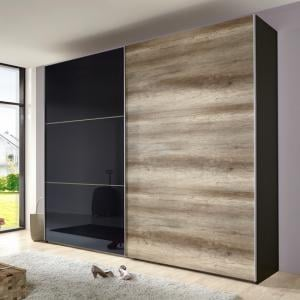 Match Up Sliding Wardrobe in Wild Oak and Black Door