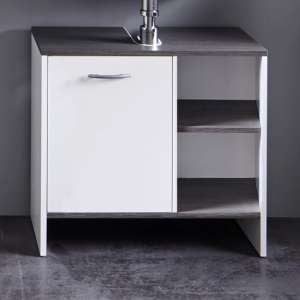 Matis Vanity Cabinet In White And Smoky Silver With 1 Door