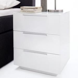 Fresh Tall Bedside Cabinet In White Glass Top And High Gloss