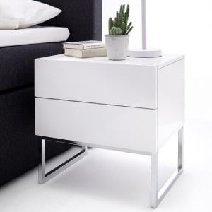 Strada Bedside Cabinet In White High Gloss With 2 Drawers_1