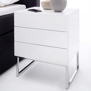 Strada Bedside Cabinet In White High Gloss With 3 Drawers