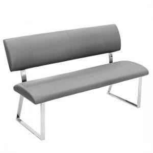 Mattis Dining Bench In Grey Faux Leather With Chrome Base