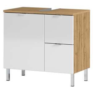 Mauresa Basin Vanity Unit In Grandson Oak And White High Gloss