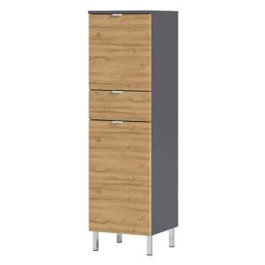 Mauresa Storage Cabinet In Graphite And Grandson Oak