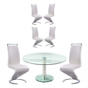 Maxi Glass Dining Table In Clear With 6 Summer Cream Chairs