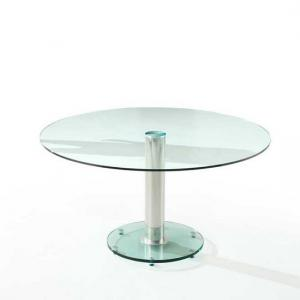 Maxi Round Dining Table In Clear Glass With Chrome Support