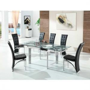 Maxim Extendable Glass Dining Set With 6 Ravenna Black Chairs