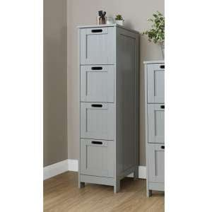 Maxima Wooden Chest Of Drawers Slim In Grey With 4 Drawers