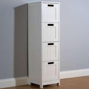 Maxima Wooden Chest Of Drawers Slim In White With 4 Drawers