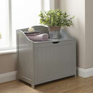 Maxima Wooden Storage Hamper In Grey