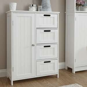 Maxima Wooden Bathroom Storage Unit In White With 1 Door