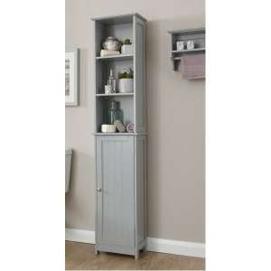 Maxima Wooden Storage Cupboard Tall In Grey With 1 Door