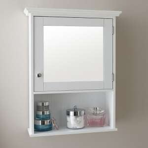 Maxima Wall Mounted Mirrored Bathroom Cabinet In White