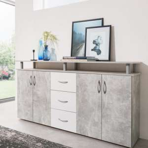 Maximo Sideboard In Structured Concrete And White