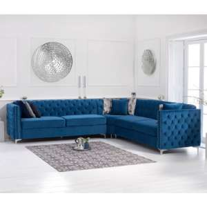 Maxo Velvet Upholstered Corner Sofa In Blue