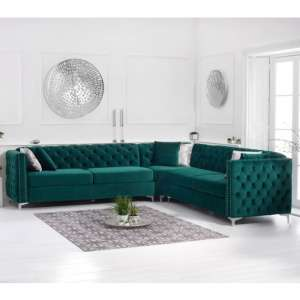 Maxo Velvet Upholstered Corner Sofa In Green