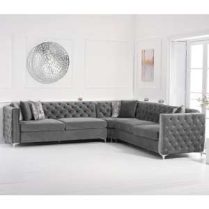 Maxo Velvet Upholstered Corner Sofa In Grey