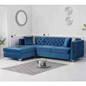 Maxo Velvet Upholstered Left Handed Chaise Corner Sofa In Blue