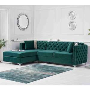 Maxo Velvet Upholstered Left Handed Chaise Corner Sofa In Green