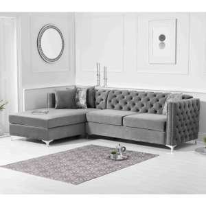 Maxo Velvet Upholstered Left Handed Chaise Corner Sofa In Grey