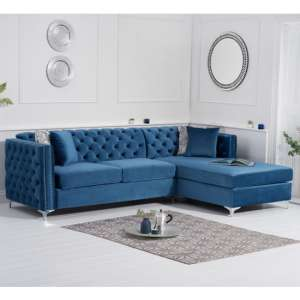Maxo Velvet Upholstered Right Handed Chaise Corner Sofa In Blue