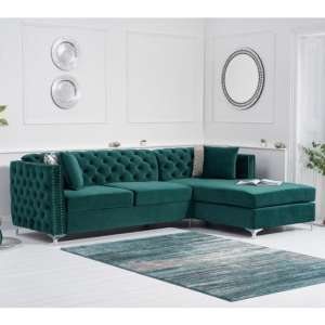 Maxo Velvet Upholstered Right Handed Chaise Corner Sofa In Green