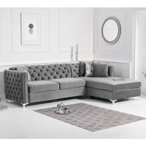Maxo Velvet Upholstered Right Handed Chaise Corner Sofa In Grey