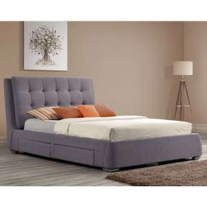 Mayfair Fabric King Size Bed In Grey With 4 Drawers
