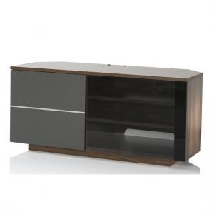 Mayfair Corner TV Cabinet In Walnut And Grey Gloss With 2 Doors