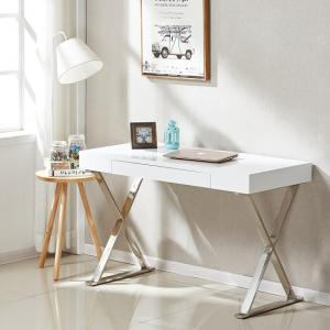 Mayline Laptop Office Desk In High Gloss White